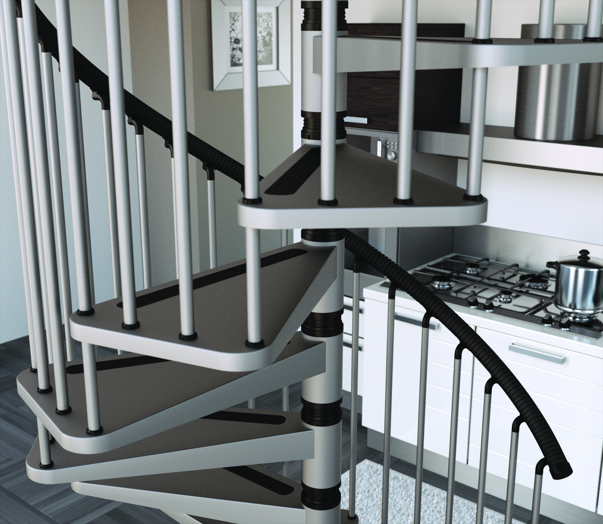 Extra Tread Metal Spiral Staircase Type Gamia L00l Stairs