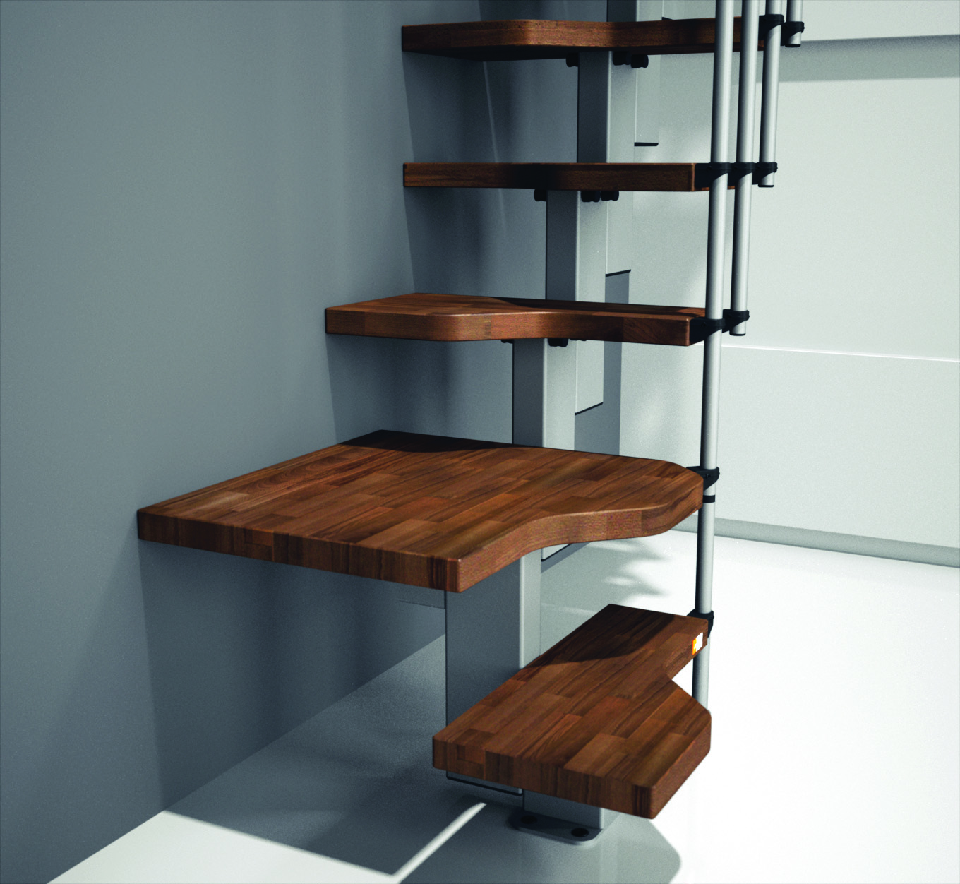 """Madrid Wooden Space Saver Staircase Kit Loft Stair: Space Saver Staircase Type """"Mini"""" Natural Beech"""