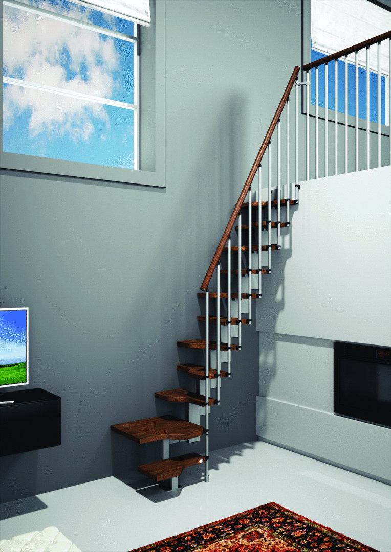 Ruimtebesparende trap type mini walnoot 1001 trappen - Trap meubilair kind ...