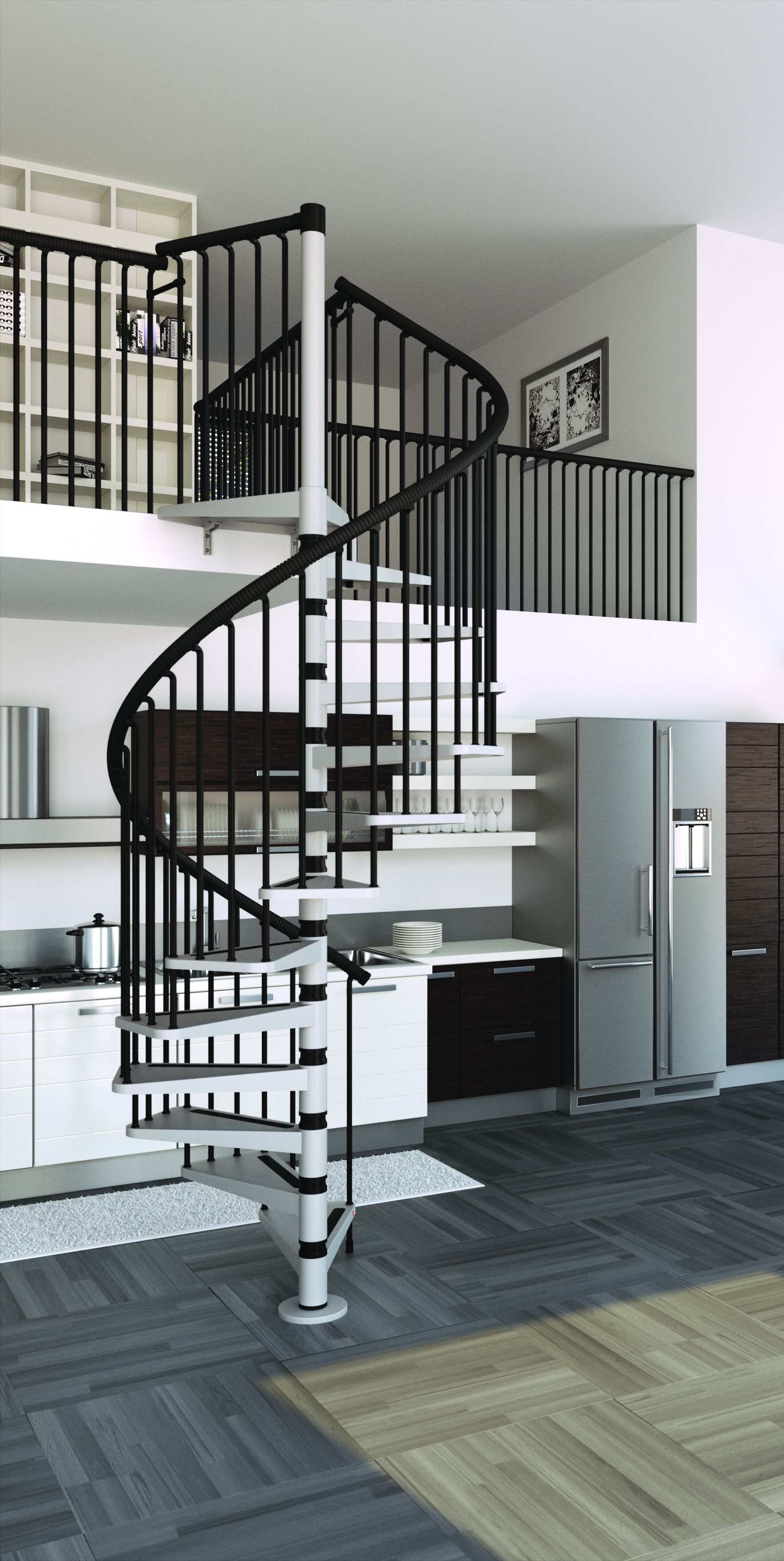 Metal spiral staircase type gamia l00l stairs for Aluminum spiral staircase prices