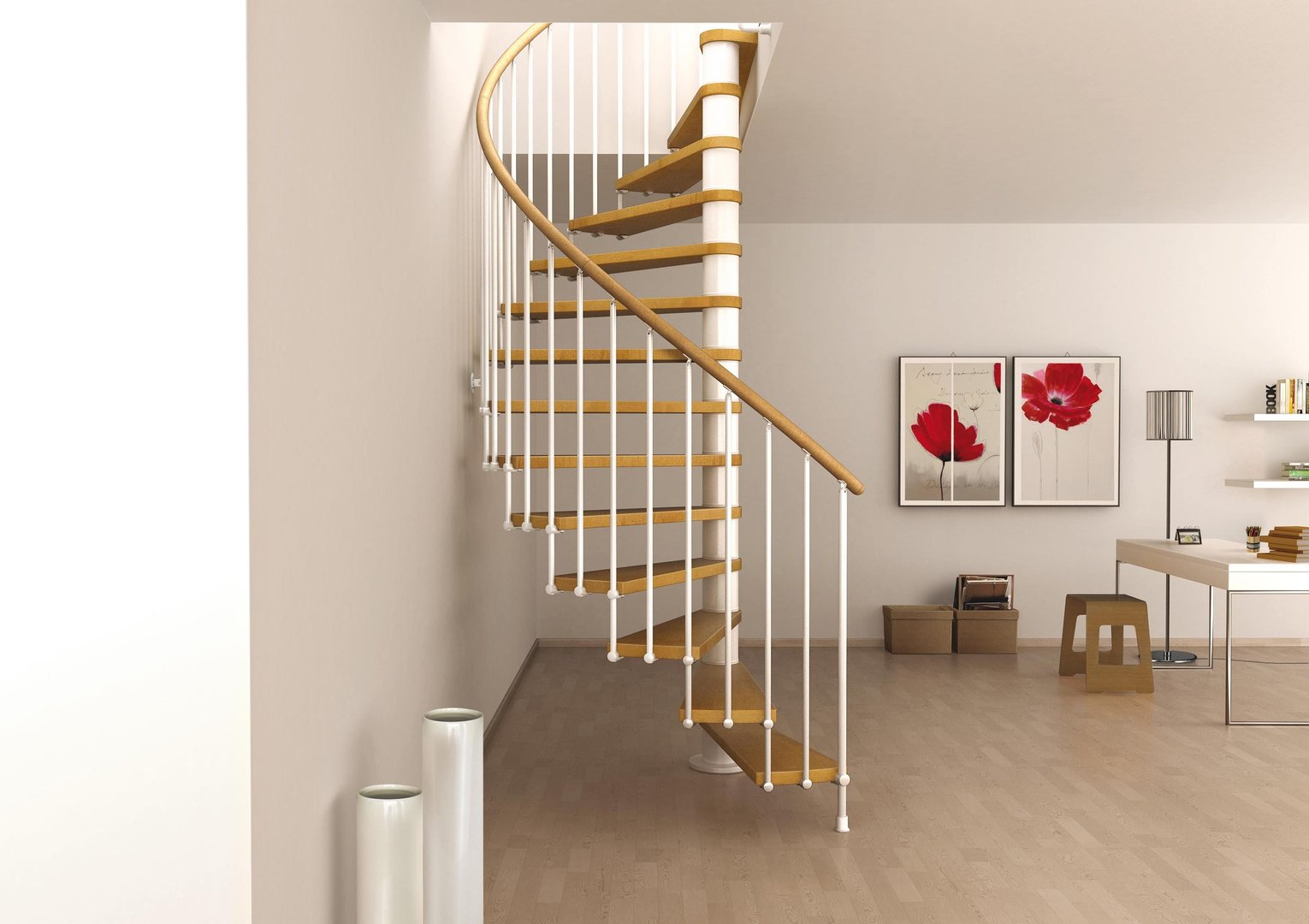 Space saving spiral staircase type toscana l00l stairs - Staircase designs for small spaces set ...